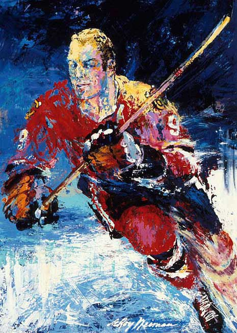 Painted portrait of Bobby Hull, skating with hockey stick