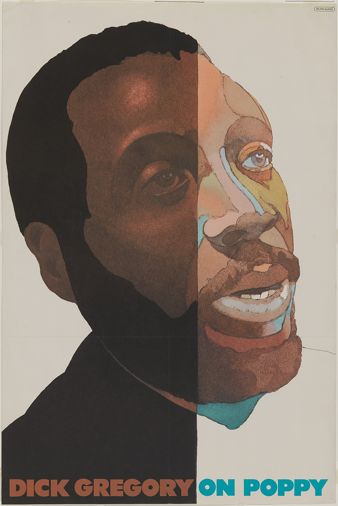 Graphic poster of a man looking up to the right
