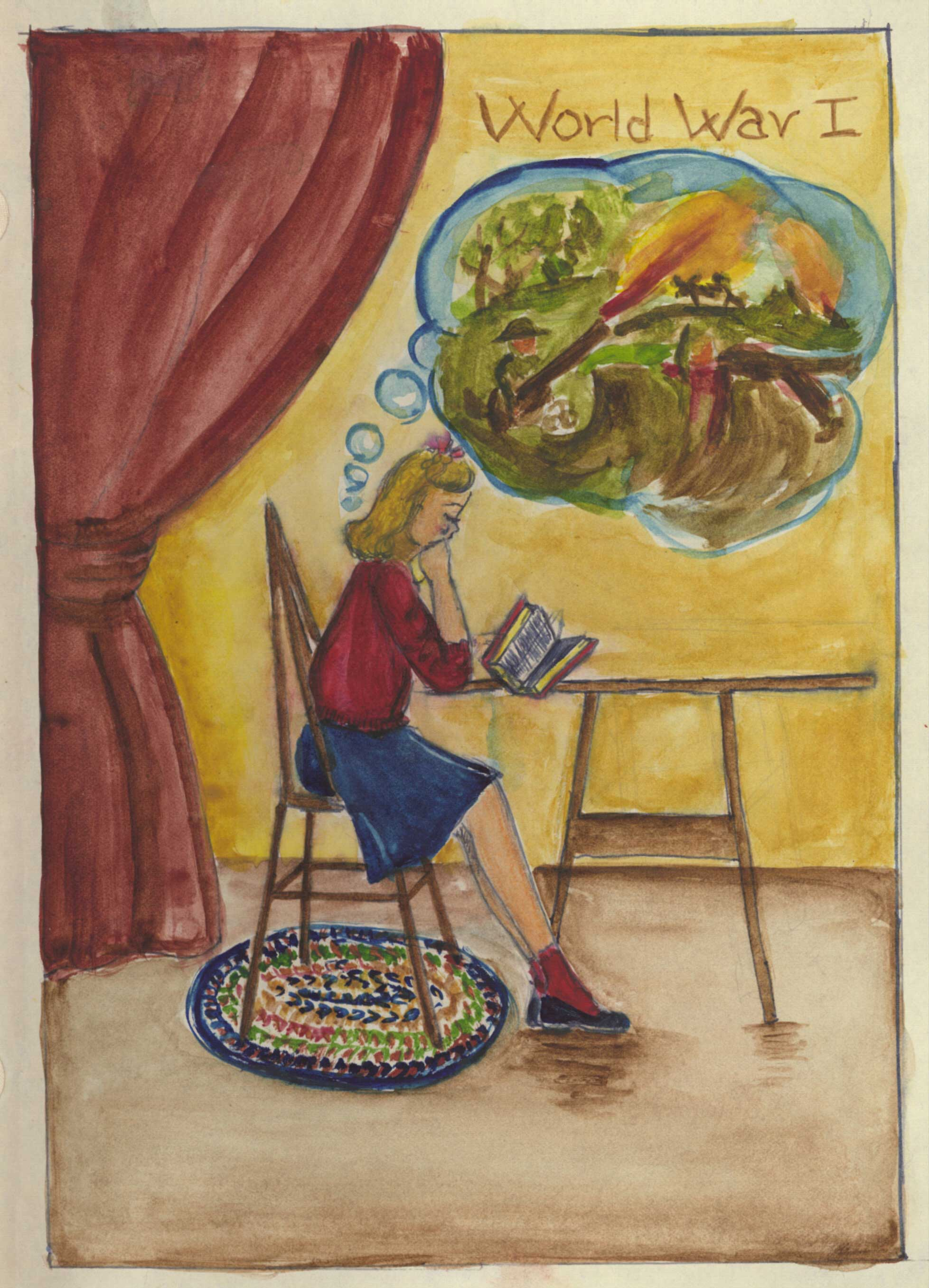 A drawing of a young girl reading a book and imagining a battle in a thought bubble