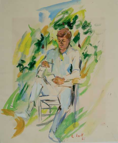 Watercolor on paper painting of John F. Kennedy, seated, reading
