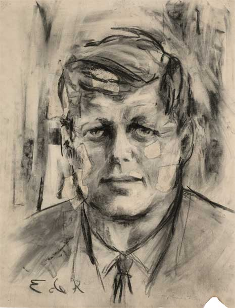 Charcoal and collage on paper artwork of John F. Kennedy wearing a tie