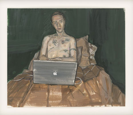 Painting of a shirtless man sitting in his bed with a laptop computer.