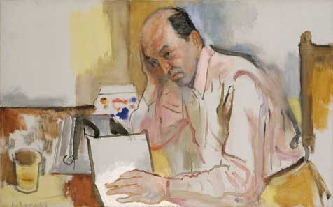 Painted portrait of Clement Greenberg, holding head and reading
