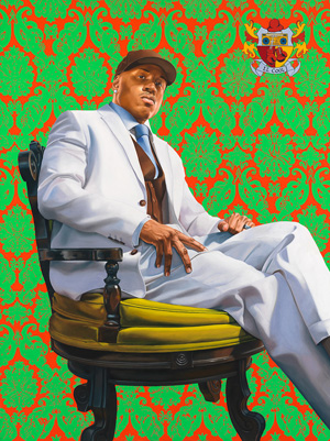 Painted portrait of LL Cool J, sitting in chair in regal pose