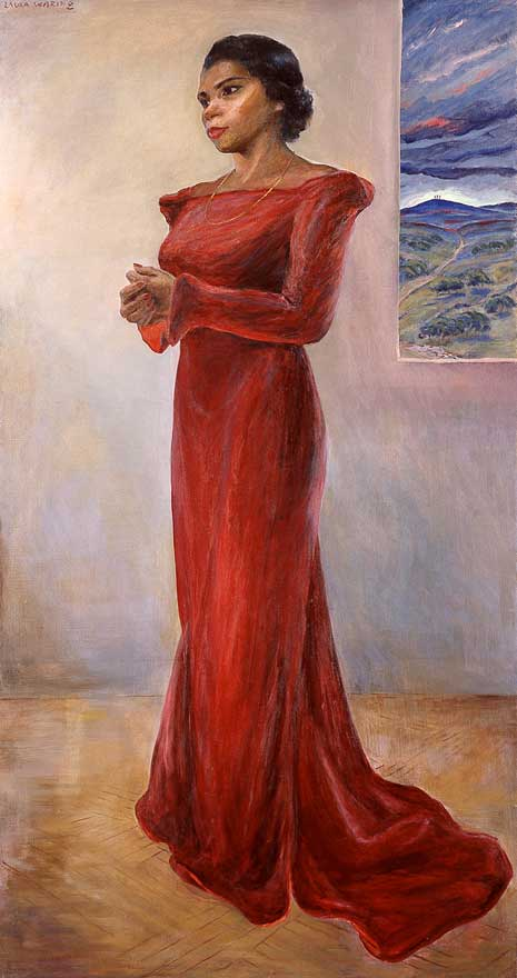 Full length painted portrait of Marian Anderson, red dress, hands together and in front of her