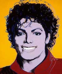 Silkscreen portrait of Michael Jackson, solid orange background, solid red  shirt Michael Joseph Jackson / Andy Warhol /