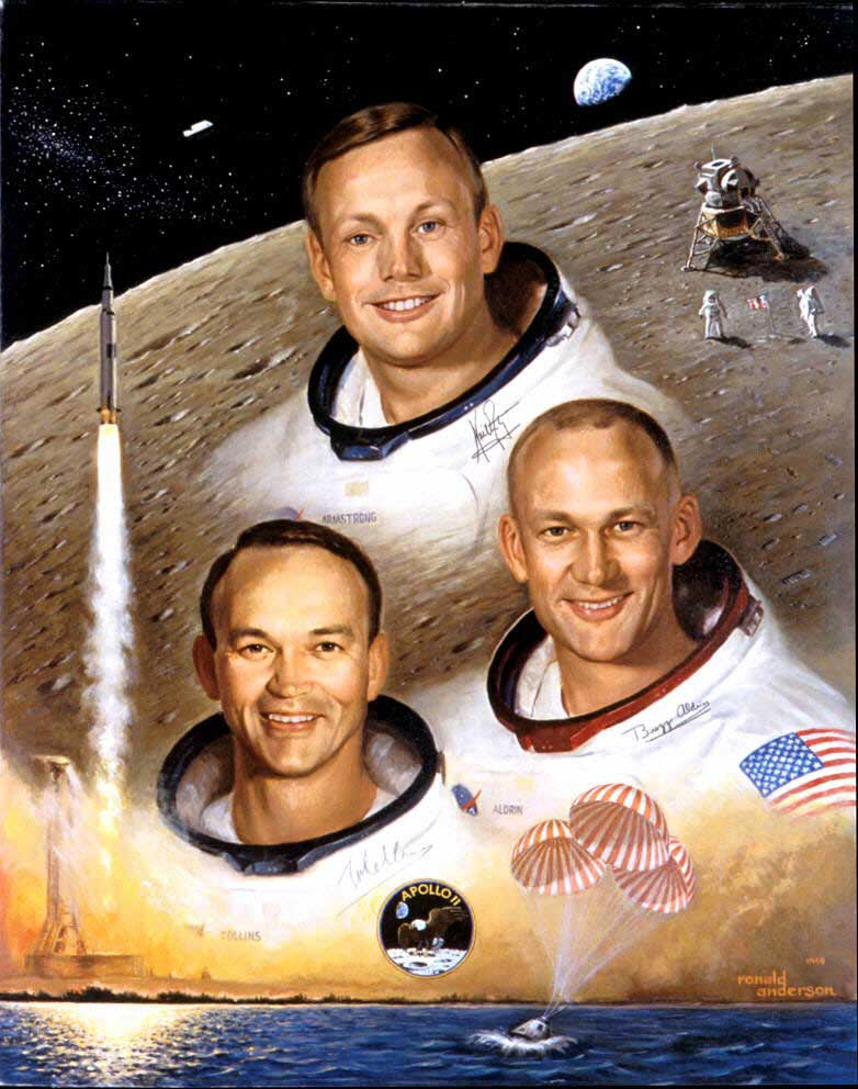Painted portrait of Armstrong, Buzz Aldrin and Michael Collins wearing their space suits (without helmets) and the moon and rockets in background