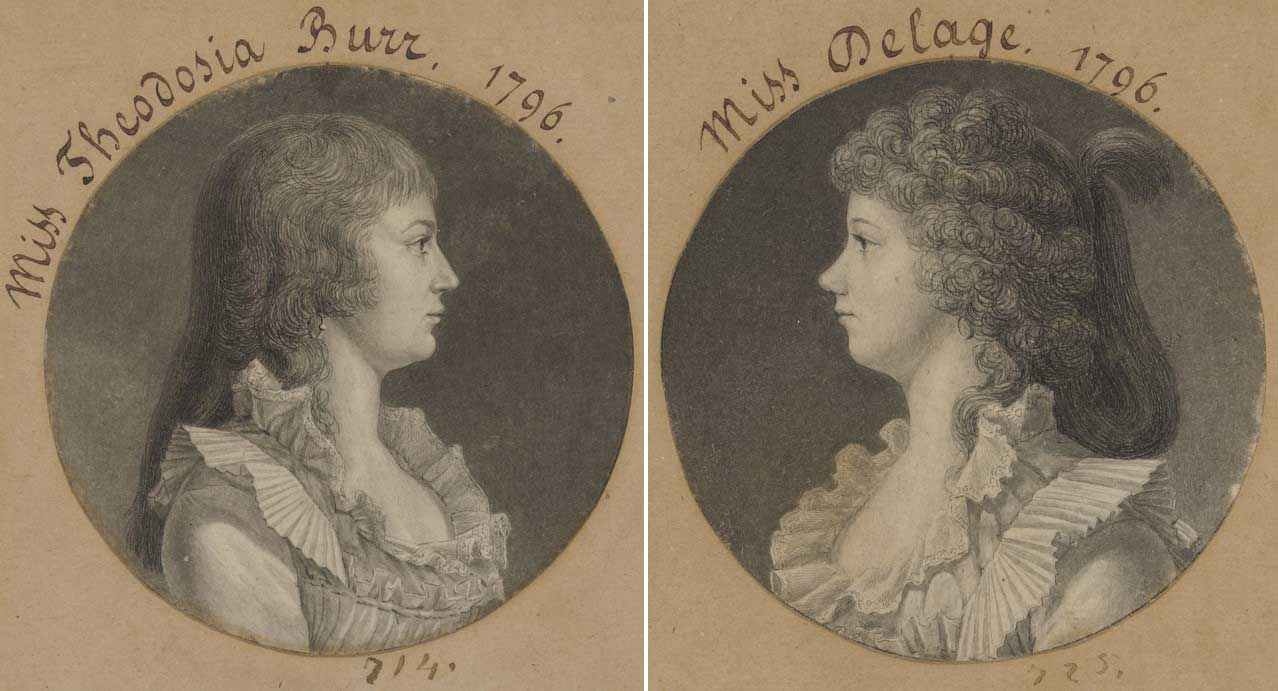 Prints of two women in pleated dresses facing inward in profile