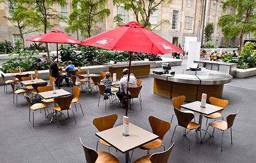 View of cafe tables in the museum courtyard