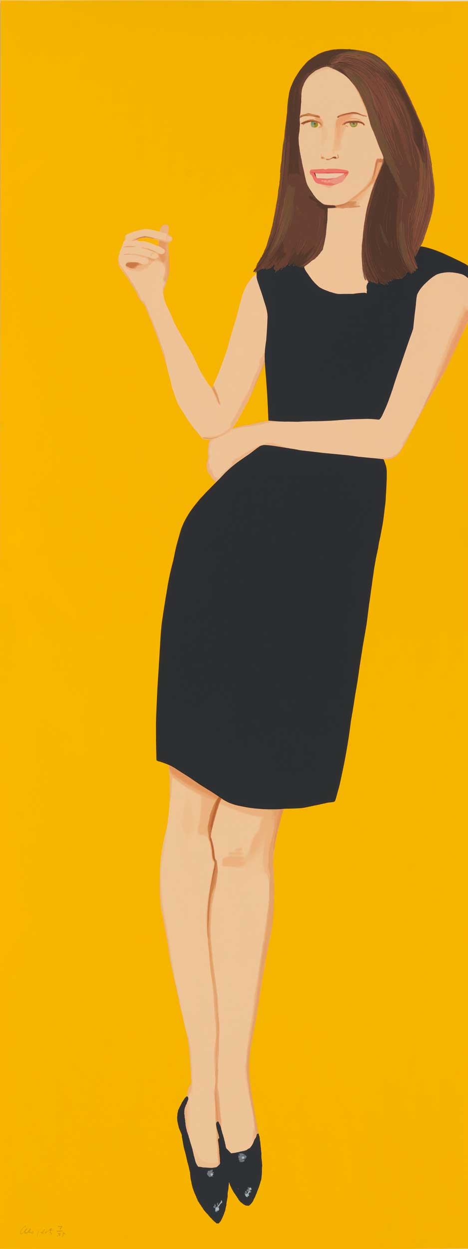 Brightly colored graphic painting of a woman in a black dress