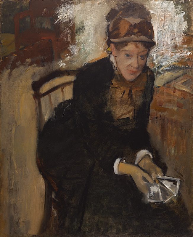 painting of a seated woman in a black dress and hat