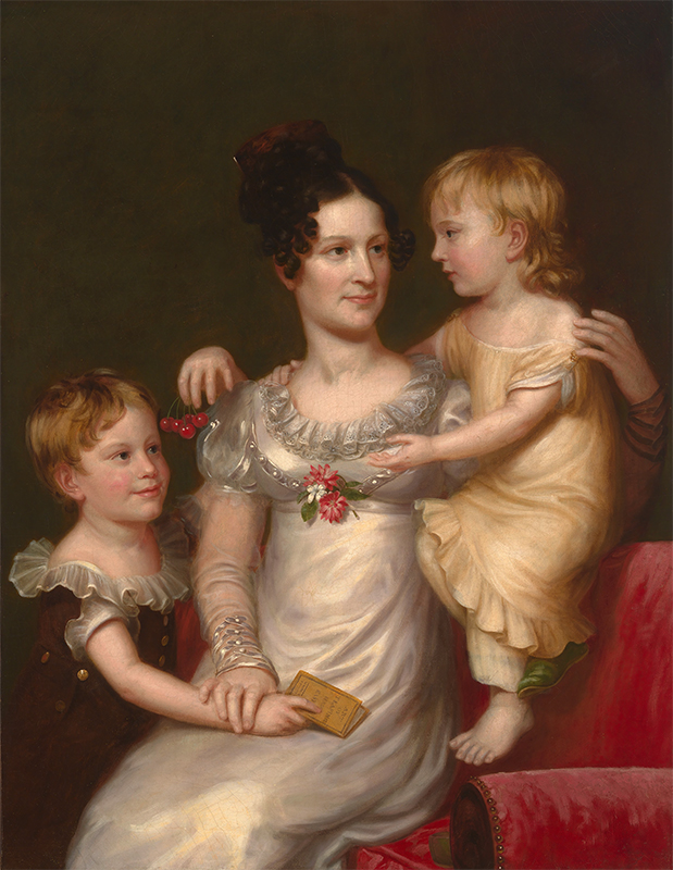 early 19th century portrait of a woman and her two children