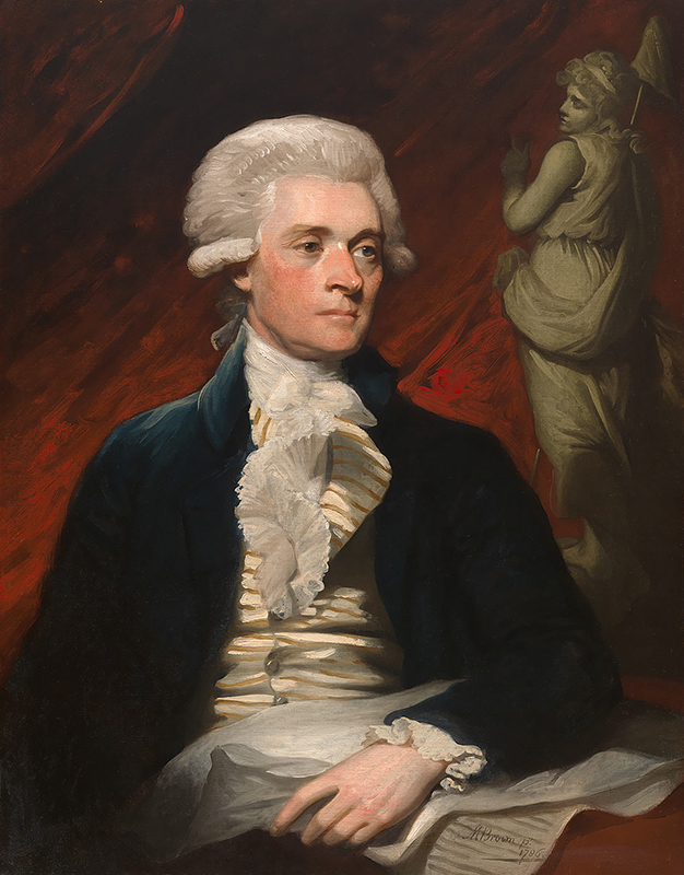 Jefferson in a powdered wig and formal clothes