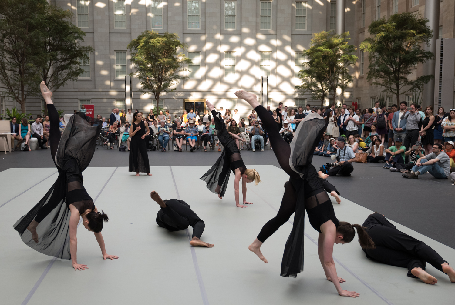 A group of dancers dancing with a large audience watching
