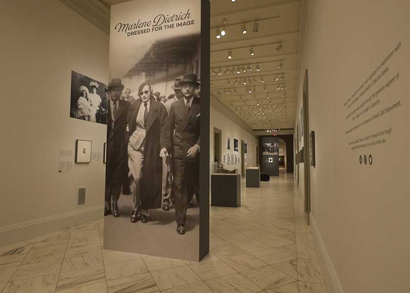 Installation photograph of Marlene Dietrich: Dressed for the Image