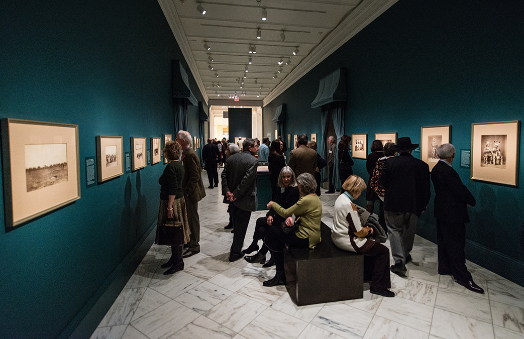 View of the exhibition with visitors