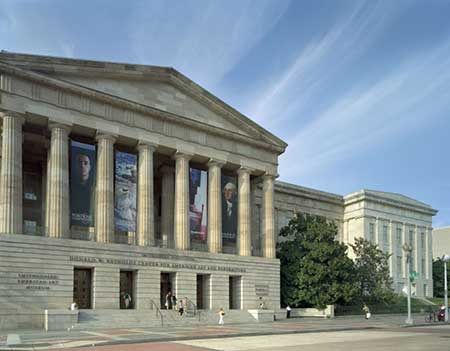 The exterior of the National Portrait Gallery building, greek revival style architecture