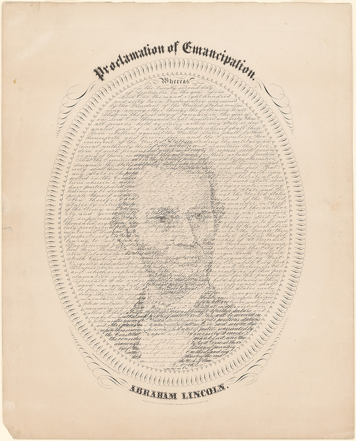 Portrait of Abraham Lincoln made up of the words of the Emancipation Proclamation
