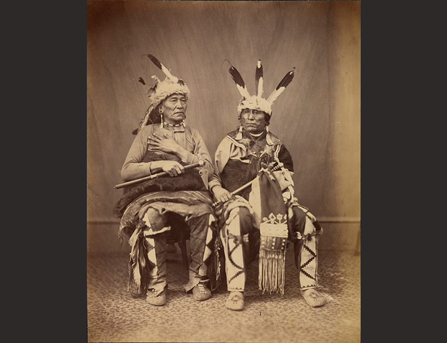 Photograph of Ihanktonwan Nakota delegates Long Foot and Little Bird