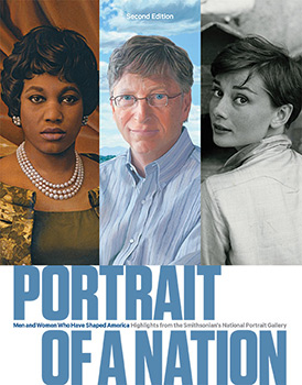 Cover of Portrait of a Nation book, with three portraits on the cover