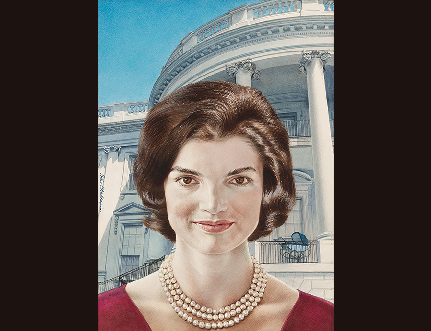 Young woman in a red dress in front of the White House
