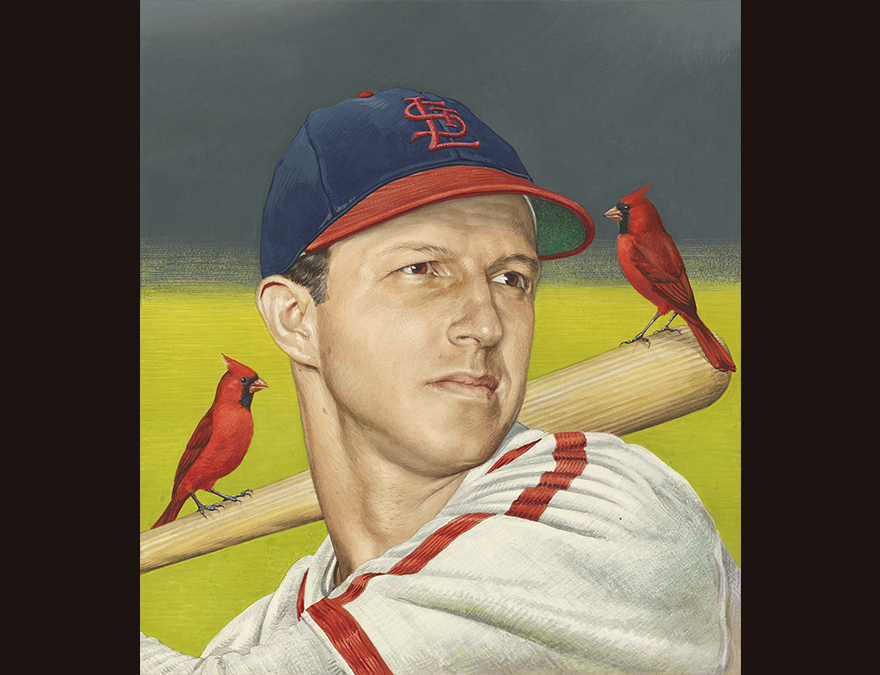 Baseball player  with two cardinals on his bat