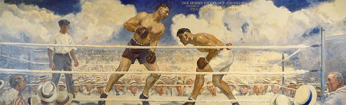 Dempsey-Willard Fight: Jack Dempsey and Jess Willard by James Montgomery Flagg / Oil on canvas, 1944