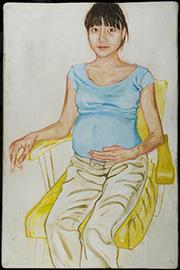 painting of woman, preganant, in blue shirt