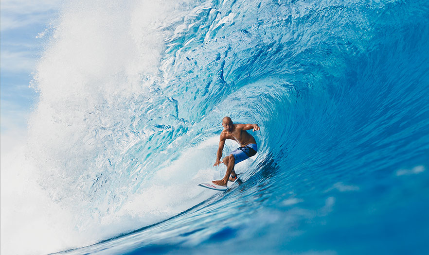 Man surfing a large wave