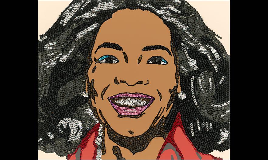Glitter portrait of Oprah Winfrey