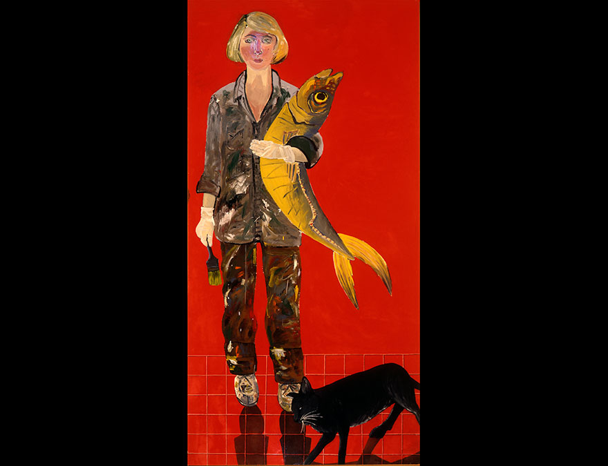 Full length new of a woman with a cat holding a large fish