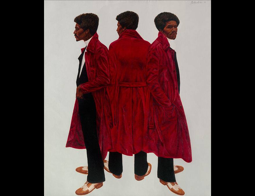 Three views of the same man in a red coat
