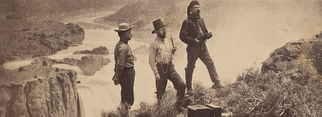 Three Men at Shoshone Falls / Unidentified photographer