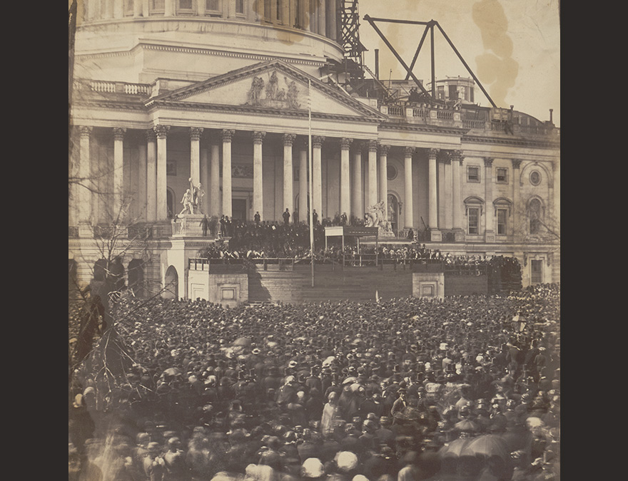 View of the US Capitol with a large crowd