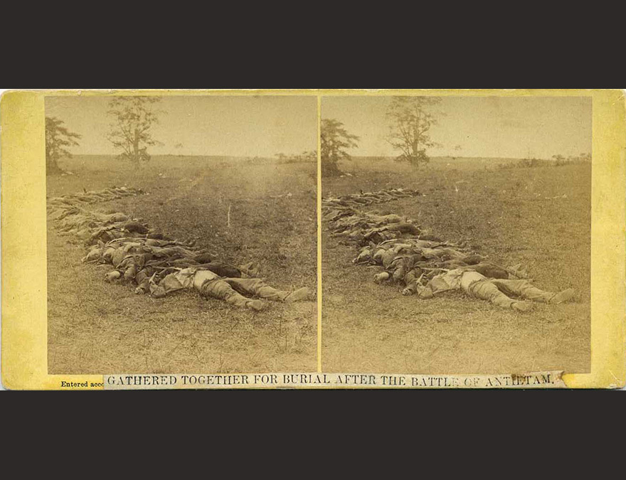 Photograph of several dead soldiers killed at Antietam