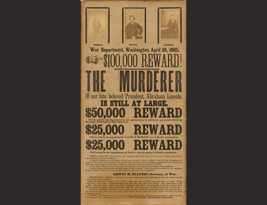 Wanted poster with images of John H. Surratt, John Wilkes Booth, and David E. Herold