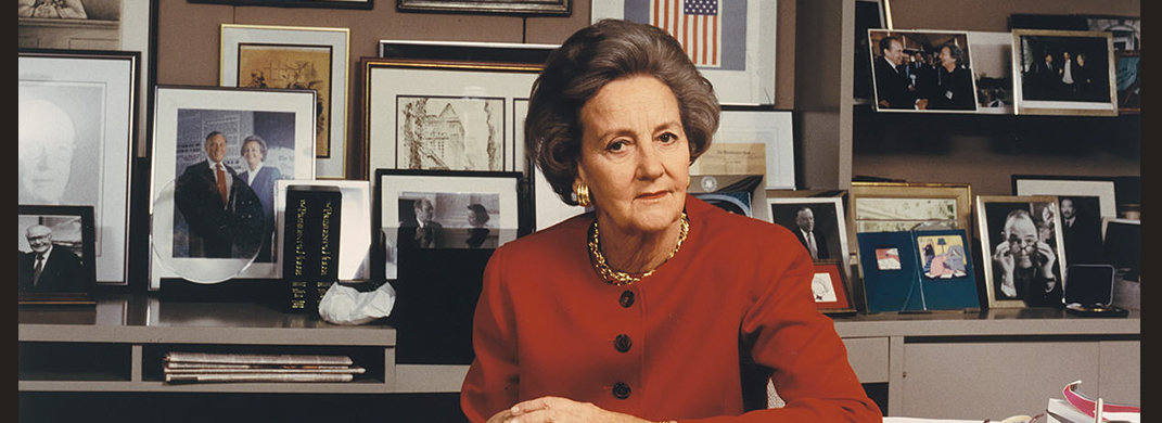 Photograph of Katharine Graham in her office