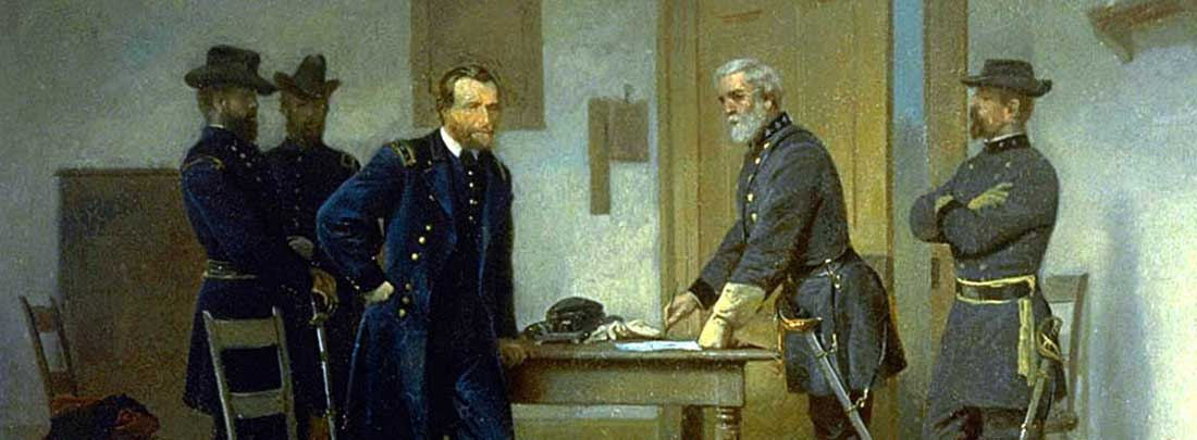 Lee Surrendering to Grant at Appomattox / By Alonzo Chappel (1828 - 1887) / c. 1870 / Oil on paperboard / Smithsonian American Art Museum, gift of Nancy L. Ross in memory of Patricia Firestone Chatham