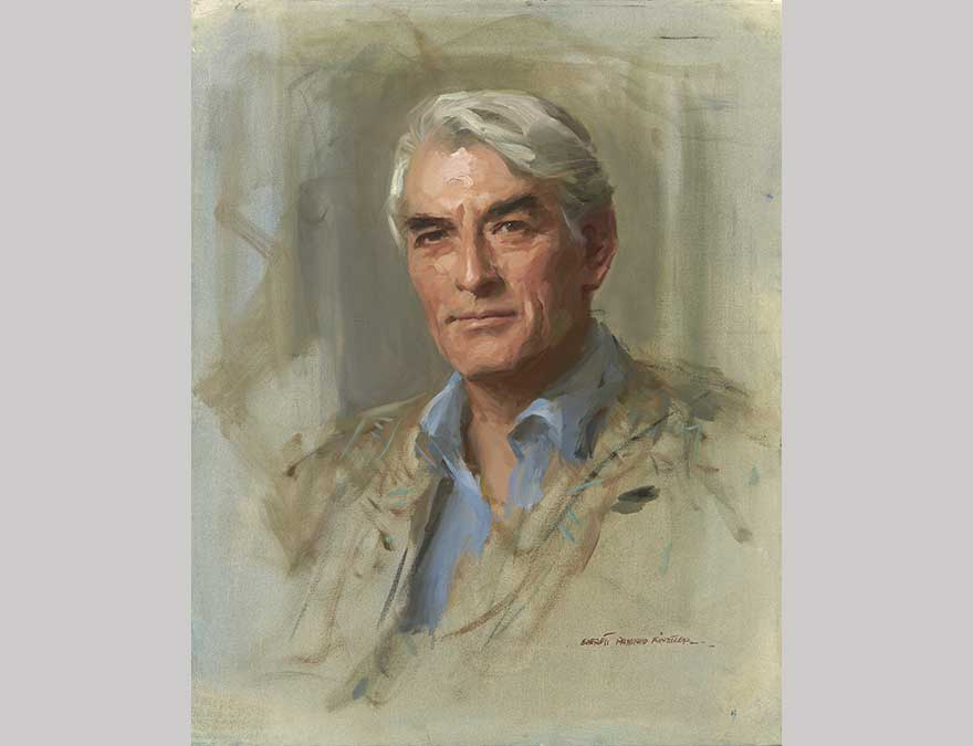 Bust-length portrait of a man with white hair