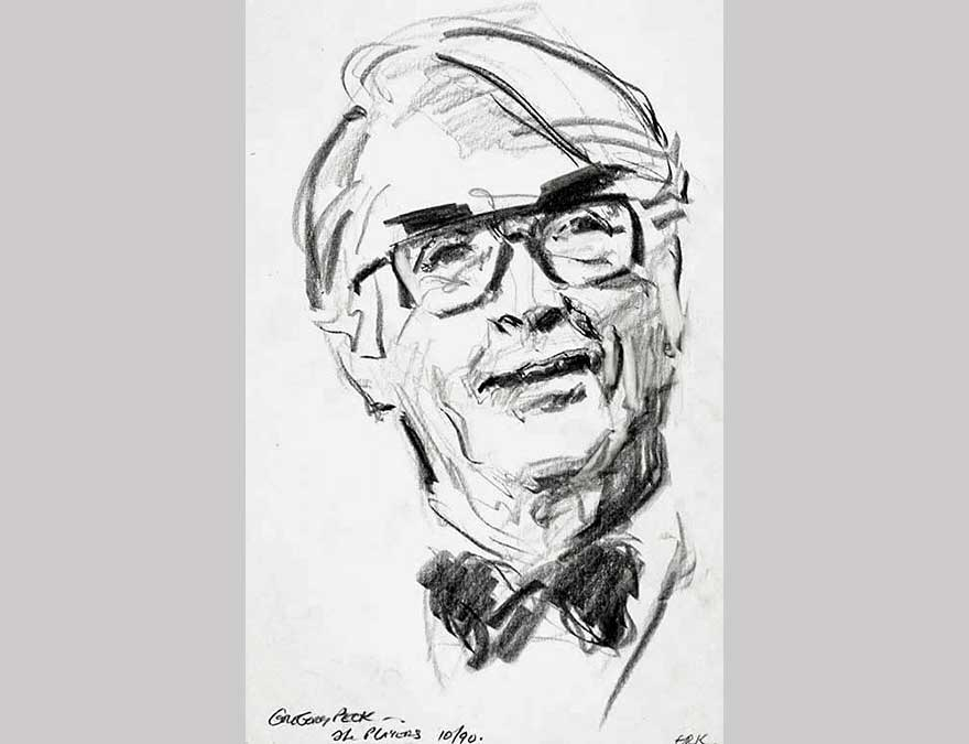 Preparatory sketch of Gregory Peck by Everett Raymond Kinstler