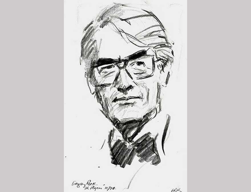 Black and white sketch of an older man with glasses
