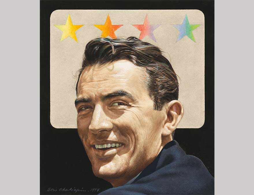 Painting of Gregory Peck by Boris Chaliapin featuring four stars above the actor's head