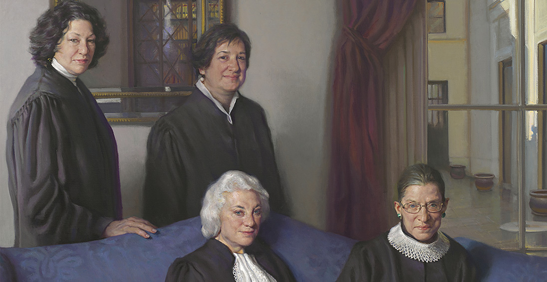 The Four Justices painting: the four women supreme court justices posed together on a couch, wearing their formal black robes