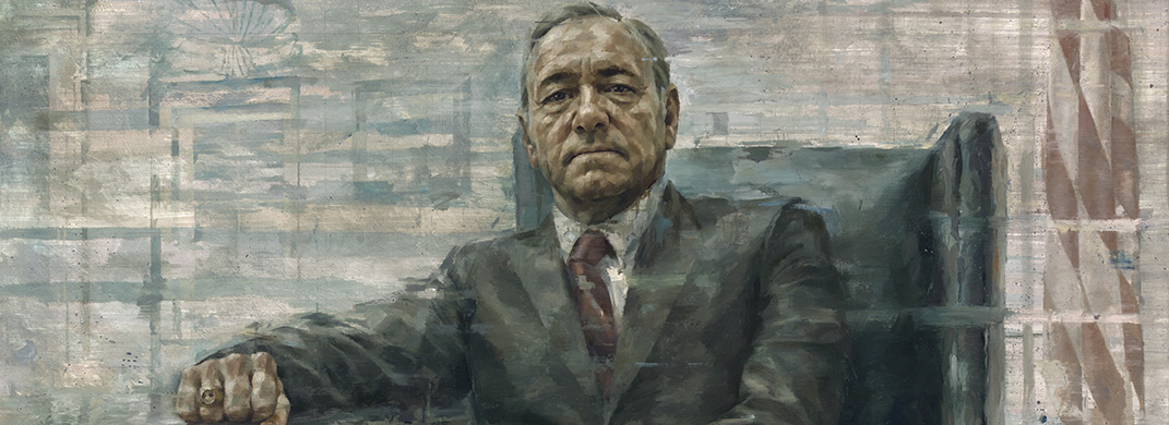 Retrato de Kevin Spacey como el Presidente Frank Underwood