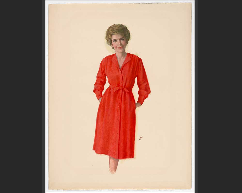 Portrait of Nancy Reagan in red dress