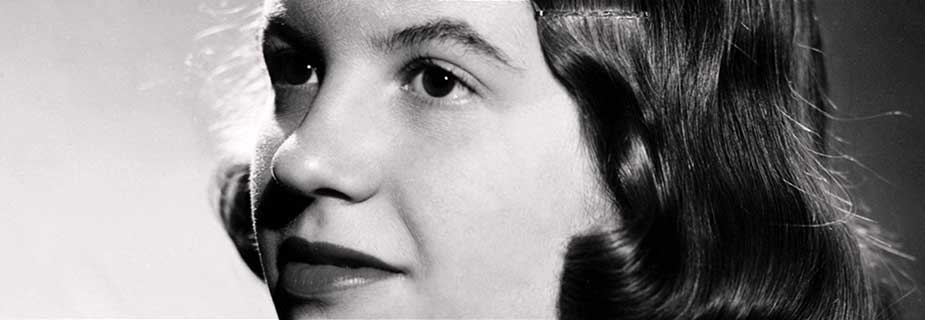 Black and white photograph portrait of Sylvia Plath