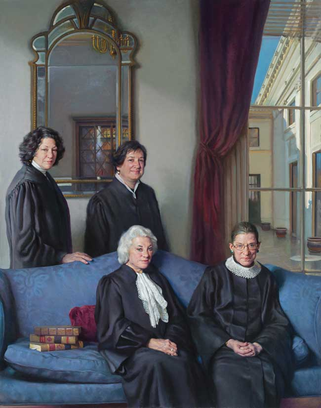Painting of four female Supreme Court justices