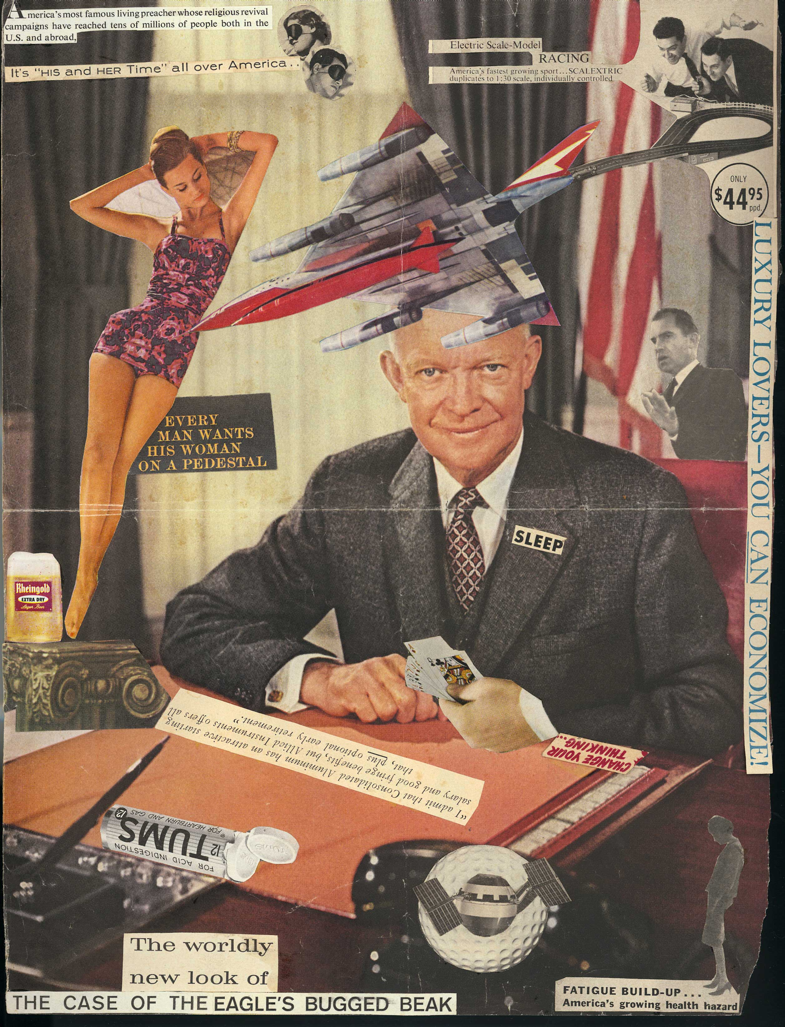 A collage featuring a drawing of President Eisenhower covered in cut out headlines from magazines