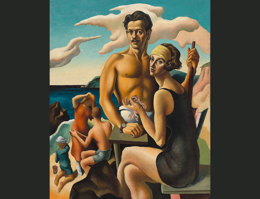 Bare chested man with his wife in a bathing suit