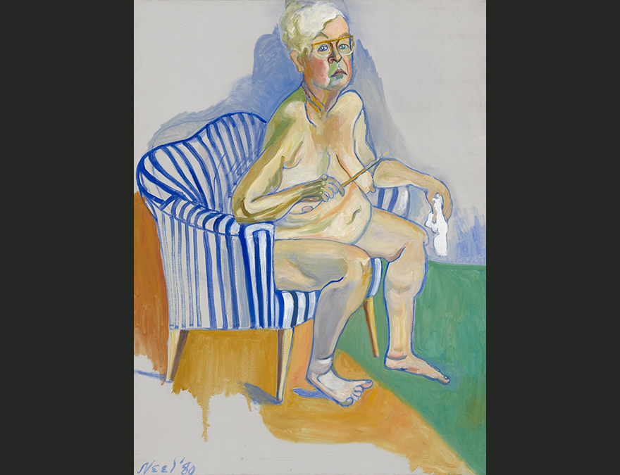 Older woman seated in a chair, nude
